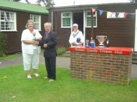 August tournament: Chris Constable receives the Daldy Cup (photo: Margaret Russell)