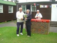 August tournament: Jack Davies receives the Abbey Challenge Cup from John Solomon (photo: Margaret Russell)