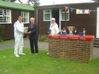 August tournament: Nigel Wilson receives the Monteith Bowl (photo: Margaret Russell)