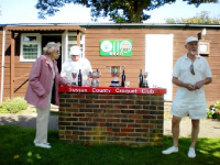 August Tournament: The silverware ready for presentation at class singles event. Prizes were presented by Hyacinth Coombs, long-standing member of SCCC, known to many visitors for the long period she ran the club bar. Photo by Margaret Russell