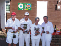 August Tournament: Class Singles winners: Brian Kitching, Dick Knapp, Wendy Spencer-Smith and Brian Gould