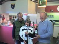 Winter Programme: 10/10 Golf Croquet: Manager John Low with winners Maggie and Keith Webb