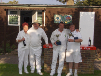 August Tournament: Mavis Buist, Jonathan Isaacs and winners Nigel Wilson and John Smallbone