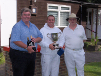 August Tournament: A class: runner up Gerard Healy, winner Craig Oakley, with Jonathan Isaacs
