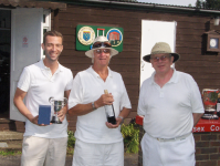 August Tournament: B class: winner Jon Palin, runner up Jeff Rushby, with Jonathan Isaacs