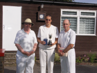 August Tournament: Jonathan Isaacs with C Class winner Luc Berthouze and runner up David Cook