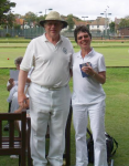 High Bisque Tournament winner Judith Moore with Jonathan Isaacs (photo: Peter Moore)