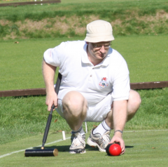 End of Season: Dominic Nunns lines up a croquet shot