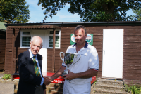 CA GC Open Championship: Andrew Hope presents trophy to Reg Bamford (photo: Ray Hall)