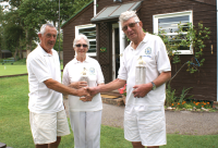 Alternate Strokes Doubles Competition: Paul Castell with winners Pam and Gerald Gooders (photo: Ray Hall)